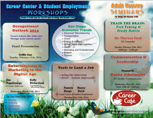 Spring 2014 Career Workshops Brochure  Courtesy of; Nancy Davis