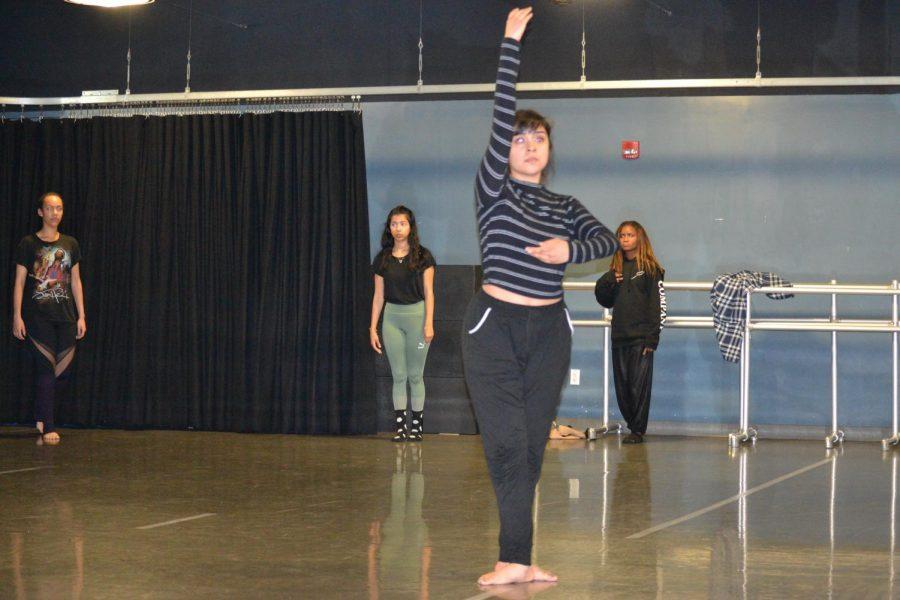 Dancer Tiffany Martinez Delgado practices poses for touring show.