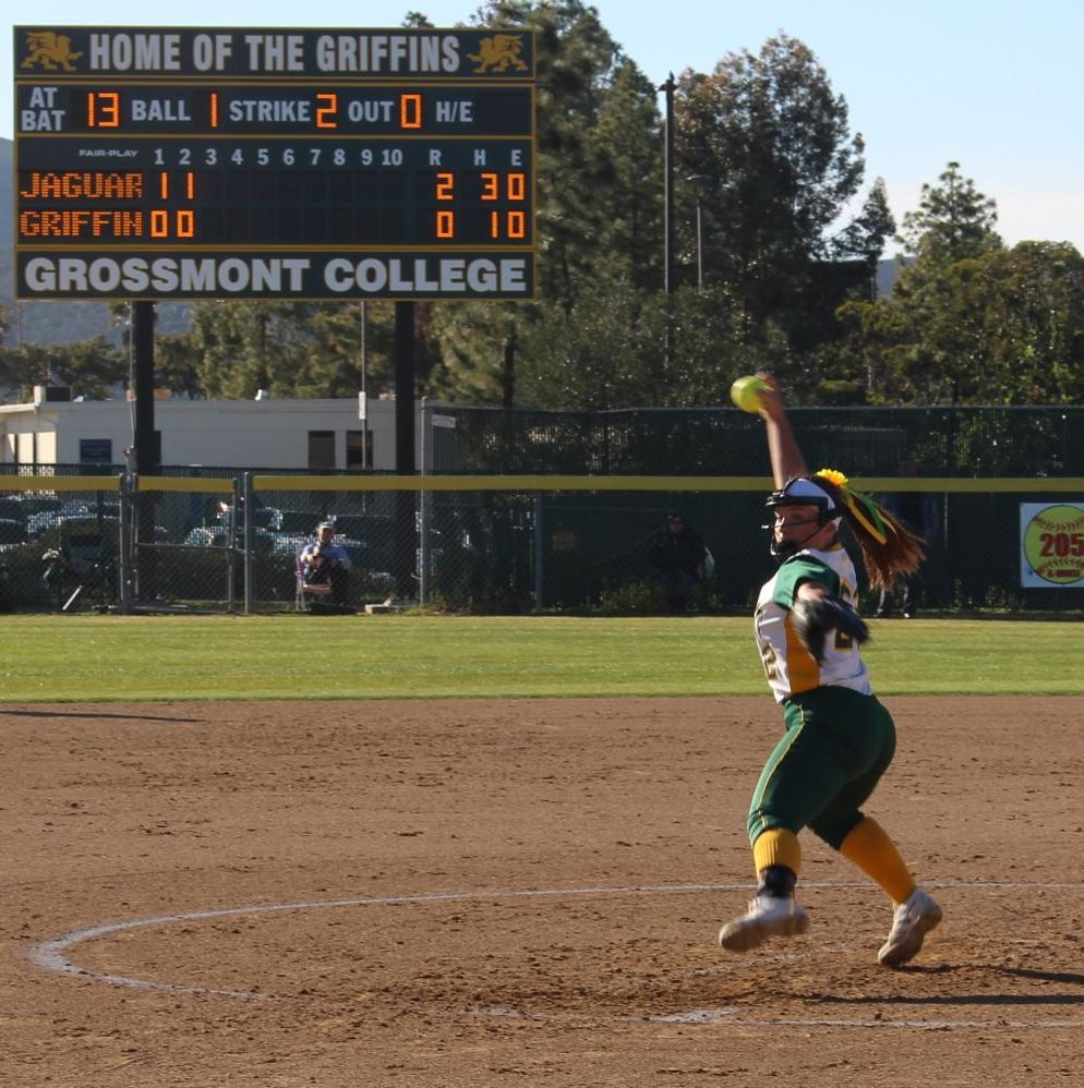 Pitcher and infielder Lexi Schmehr winds up a strike against Southwestern College Jaguars.
