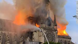 Firefighters battling flames that engulfed cathedral.