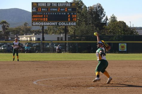 Pitcher and infielder Lexi Schmehr winds up a strike against the Southewestern College Jaguars during the 2019 season.