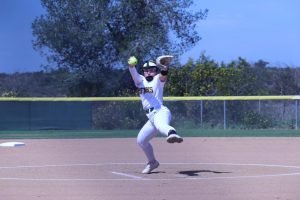 Lexi Schrmehr was the starting pitcher against LA Harbor. She also played short-stop, and swung a hot bat during the double-header.