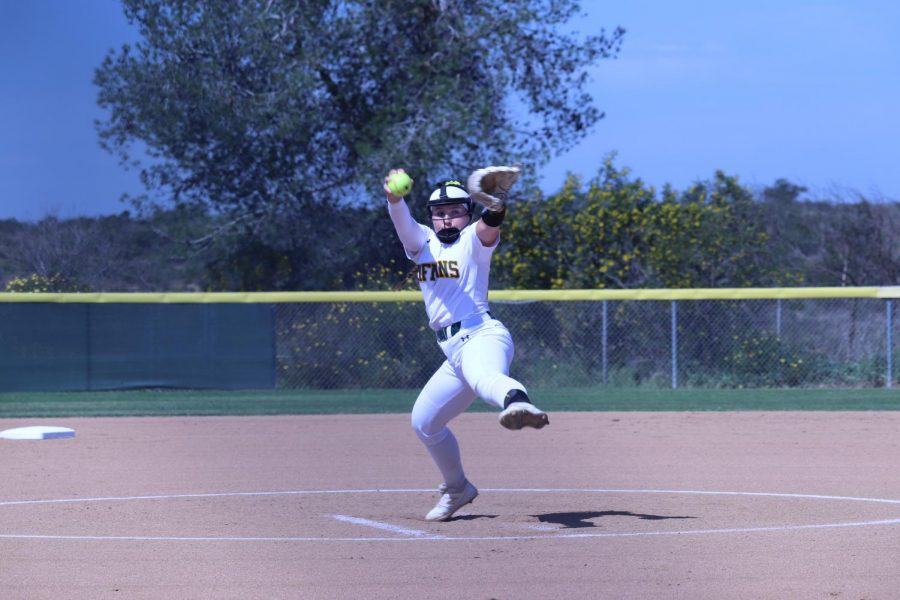 Lexi+Schrmehr+was+the+starting+pitcher+against+LA+Harbor.+She+also+played+short-stop%2C+and+swung+a+hot+bat+during+the+double-header.